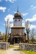 Old log church in an open-air ethnography museum in Wygielzow, Poland Stock Photos