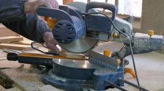 Cut the electric saw board Stock Footage