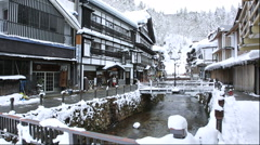 Winter at Ginzan Onsen in Yamagata Prefecture Stock Footage