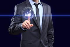 Businessman pressing button on touch screen interface and select Experience Stock Photos