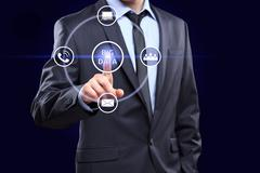 Analyst click on button with text data mining - stock photo
