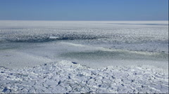 View of the drifting ice on the Sea of Okhotsk from Lake Notoro, Hokkaido, Japan Arkistovideo