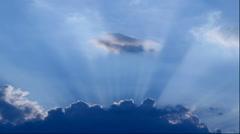 Sunlight filtering through clouds, Hokkaido, Japan Stock Footage