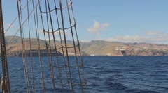 Looking to the island of La Gomera from a tall ship in the Canary Islands Stock Footage