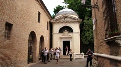 People visit the Dante's Tomb in Ravenna, Italy. Stock Footage