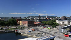 Oslo city seen from the Opera House in Norway Stock Footage