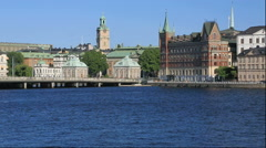 View of Gamla Stan from Stockholm City Hall, Sweden Stock Footage