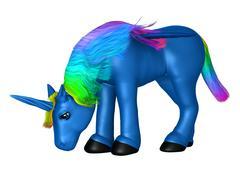 Blue Unicorn on White - stock illustration