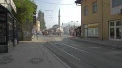 Muslihudin Cekrekcija Mosque seen from Mula Mustafe Baseskije, Sarajevo Stock Footage