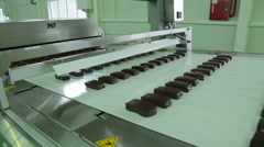 Conveyor with  The glazed curd cake Stock Footage
