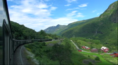 View from a train window on the Flam Railway, Norway Stock Footage