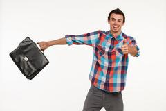 Happy manager concluded a bargain. - stock photo