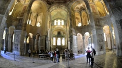 People visit San Vitale basilica in Ravenna, Italy. Stock Footage