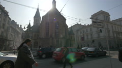The Sacred Heart Cathedral seen from across the street in Sarajevo Stock Footage