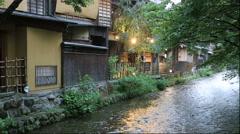 Shirakawa Minami-Dori street at dusk, Kyoto Prefecture, Japan Stock Footage