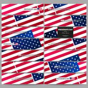 Set of modern banners. Presidents day background with american flag, abstract - stock illustration