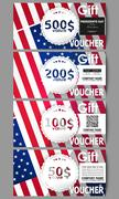 Set of modern gift voucher templates. Presidents day background with american - stock illustration