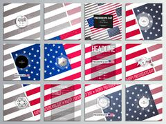 Set of 12 creative cards, square brochure template design. Presidents day Stock Illustration