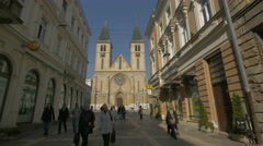 The facade of the Sacred Heart Cathedral in Sarajevo Stock Footage