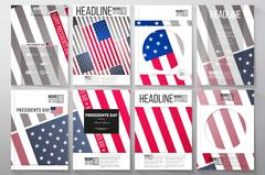 Set of business templates for brochure, flyer or booklet. Presidents day Stock Illustration