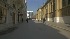 People walking in Trg fra Grge Martica in Sarajevo Stock Footage