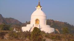 Pokhara Peace Stupa Stock Footage
