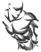 Sketch Vector Illustration:.bodybuilder. strong muscular man. at - stock illustration