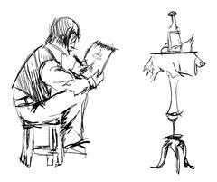 An artist painting a still life. Vector sketch. Stock Illustration