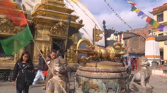 Pilgrims in Swayambunath Temple Stock Footage
