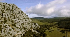 4K Aerial, Flight along a mountain range, Sierra De Grazalema, Andalusia - stock footage