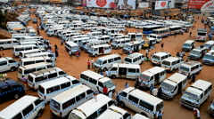 Old taxi park in the Kampala, Uganda. Stock Footage