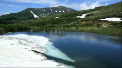Mount Toma and Kagami Pond, Hokkaido, Japan Stock Footage