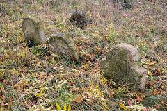 Forgotten graves on ancient graveyard Stock Photos