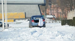 Sledging  in Izmail with the help of car. Stock Footage