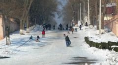 Sledging  in Izmail. Stock Footage