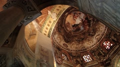Interior decoration of the San Vitale basilica in Ravenna, Italy. Stock Footage
