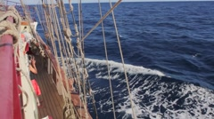 Sailing on a traditional tall ship in the Canary Islands Stock Footage