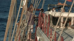 Tight crop shot of the deck on a tall ship when sailing in the Canaries. - stock footage