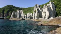 Hotokegaura cliffs in Aomori Prefecture Stock Footage