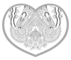 heart shaped pattern for adult and older children coloring book - stock illustration