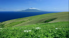 View of Mount Rishiri from Momo Iwa Walk, Rebun Island, Hokkaido, Japan Stock Footage