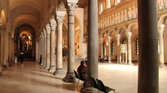 People visit Basilica of Sant Apollinare Nuovo in Ravenna, Italy. - stock footage