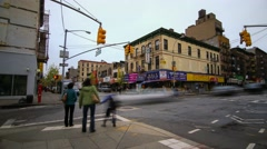 Busy streets corner in Chinatown in New York Stock Footage