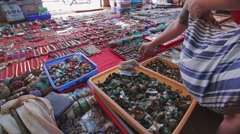 Woman chooses traditional jewelry on the local indian market - stock footage
