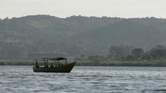 Tourists in the boat on the Nile in the Jinja, Uganda. Stock Footage