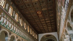 View to the mosaic in the Basilica of Sant Apollinare Nuovo in Ravenna, Italy. - stock footage
