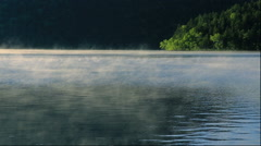 Morning mist over Lake Shikaribetsu in Hokkaido Stock Footage