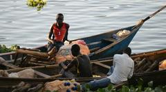 Local fishermen in the boat on the Nile in the Jinja, Uganda. Stock Footage
