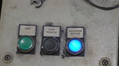 The controller push buttons of the robot welder Stock Footage