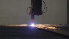 The rays of light coming from the plasma cutter Stock Footage